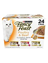 Fancy Feast Wet Cat Food, Classic, Poultry & Beef Feast Variety Pack, 3-Ounce Can, Pack of 24