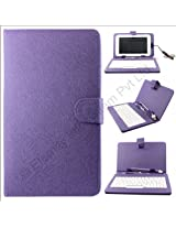 Purple QWERTY Keyboard Case Stand for Samsung Galaxy Tab 2 P3100 + OTG + Screen + DMG Wristband