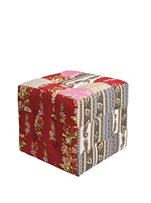 Kare Taburete Patchwork Red