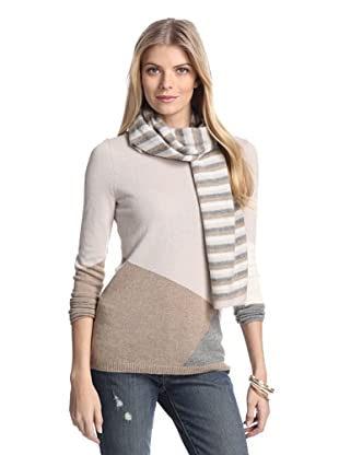 Cullen Women's Colorblock Cashmere Sweater with Scarf (Sable Combo)