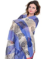 Exotic India Double-Shaded Chanderi Dupatta with Printed Paisleys - Color BlueColor Free Size
