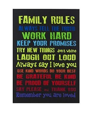 Lienzos Decoración Vertical Family Rules Negro