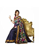 Esha Deol Bhagalpuri Silk Floral Prints Blue Bollywood Saree - VMS80054