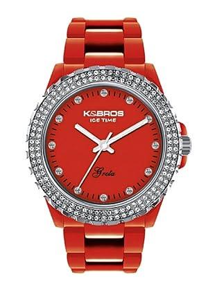 K&BROS 9552-8 / Reloj de Señora  con correa de plástico rojo