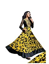 Anvi Creations Yellow Black Georgette Printed Embroidered Anarkali Dress Material (Yellow Black_Free Size)