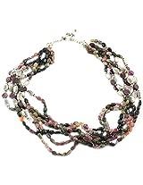 925-Silver Garnet,Tourmaline Princess Gemstone Necklace For Women 11615