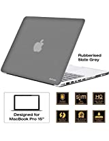 "AirPlus: AirCase - Rubberized Hard Case / Hard Shell Cover for 15.4"" Apple MacBook Pro 15 with DVD Writer (Models: A1286), Satin Feel, Color: SLATE GREY"