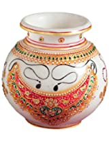 Aapno Rajasthan Marble Pot with Jewels Design (12.7 cm x 12.7 cm)