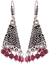 Ganapathy Gems Pink Silver Plated Jhumki Earrings For Women (7800)