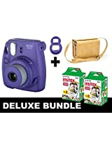 Fujifilm Instax Mini 8 - Purple + 40 Pack Instax Film + Yellow Gm Bag + Purple Selfie Mirror