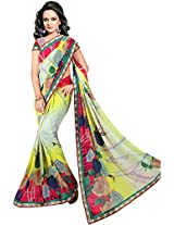 Shree Bahuchar Creation Women's Chiffon Saree(Skb4, Cream)