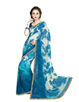 Suvastram Women Faux Georgette Printed Blue Saree