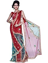 Carnelian Red Net Embroidered Party and Festival Lehenga Style Saree