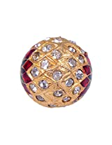 Gehna 18MM White Sapphire Stone Studded Jadau Bead Made In Silver With Enamel Work