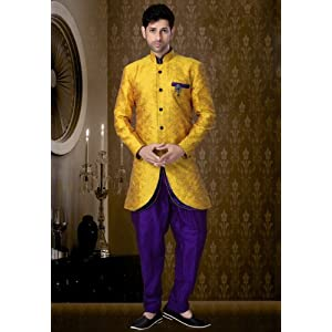 Festive Mustard Colored Readymade Buttoned Indo Western Suit - Aligarh Style Pyjama by Utsav Fashion
