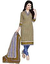 Salwar Studio Mehandi & Blue Cotton Dress Material with Dupatta SHIMAYAA-1207
