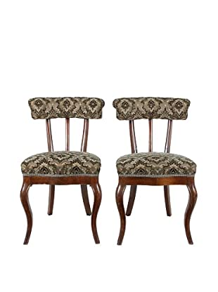 Pair of French Accent Chairs, Brown/Black/Tan