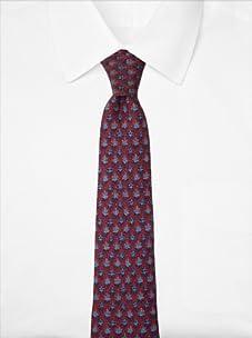 Hermès Men's Oak Leaves Tie, Burgundy/Blue, One Size