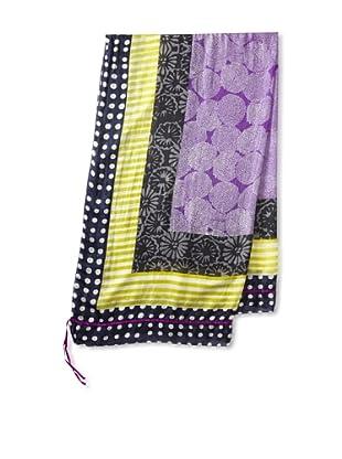 Michael Stars Women's Artisan Border Silk Wrap (Baltic)