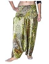Famacart Women Printed Harem Pant Free Size Green