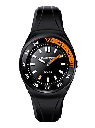 K&BROS 9475-2 / Reloj de Caballero  con correa de caucho Negro / Naranja