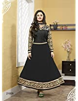Khantil New Designer Black Neck Embroidered Long Anarkali Suit