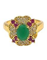 R S Jewels Gold Plated Ruby Emerald Gemstone Cz Rings Imitation Jewellery