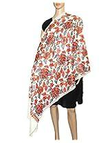 Indian Fashion Guru| White| gift| woolen stole| stoles| Flower design| Embroidery stole| shawl