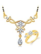V. K. Jewels Brass Mangalsutra Set for Women (Gold)