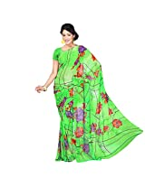 Chandra Silk Mills Women's Art Silk Saree (Green)