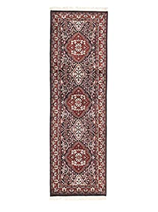 eCarpet Gallery One-of-a-Kind Hand-Knotted Kashmir Rug, Dark Navy/Burned Orange, 2' x 6' 6