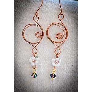 Saakar Copper Wire White Earrings