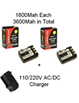 2 Canon NB-2LH Replacement Batteries 900mAh Each High Capacity Li-ion Battery Packs 1800MAH In Total With 1 Hour AC/DC Replacement Charger CB-2LT CB-2LW for Canon EOS Digital Rebel XT XTI 350D 400D Canon Powershot G7 G9 S40 S50 S60 S70 S80 Canon VIXIA HG10 HV20 HV30 HV40 Elura 40mc 50 60 65 60 70 80 85 90 DC30 DC320 Optura 40 ZR830 ZR950 ZR960 ZR930 ZR900 Elura 65 DC410 Optura 400 ZR850 60 DC42