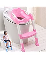 Baby Toddler Potty Training Toilet Ladder Seat Steps Assistant Potty For Toddler Child Toilet Trainer (Pink)