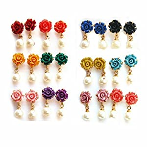 Nisa Pearls Copper Combo of Stud Earring For women (Multi-Colour)