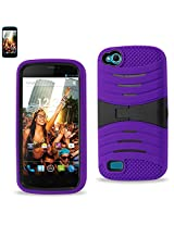 Reiko Silicon Case with Kickstand for BLU Life Play L100A - Retail Packaging - Purple black