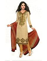 Shree Ganesh Clothing Women Cotton Salwar Suit Dress Material (Sgs- 213 _Cream _Free Size)
