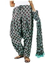 eSTYLe Ethnic Aqua Green Cotton Printed Semi Patiala & Dupatta set