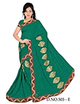 Chinco Embroidered Saree With Blouse Piece (503-E_Dark Green)