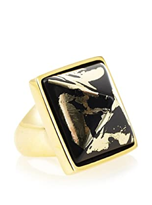 Kenneth Jay Lane Black and Gold Foil Adjustable Pyramid Ring