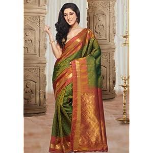 Utsav Fashion Handloom Saree with Blouse - Green & Mustard