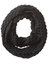Dearfoams Women's 2-Tone Diamond Knit Infinity Scarf, Black, One Size