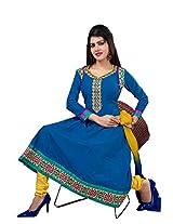 Khushali Women's VIolet Cotton Unstitched Anarkali Salwar Suit Dress material