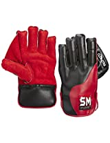 SM Club Star Leather Palm Wicket Keeping Gloves, Men's (Black/Red)
