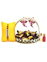 Giftsbymeeta Exclusive Rakhi Gift Pack Including Tray, Roli And Chawal,25 Ecl...