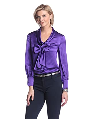 Zelda Women's Sigourney Blouse with Tie (Grape)