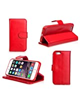 Premium 100% Genuine Top Leather Case for iPhone 6 (For iPhone 6 4.7, Red)