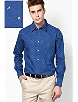 Navy Blue Printed Casual Shirt