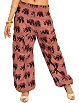 Exotic India Yoga Trousers with Printed Elephants and Front Pockets - Color Twilight MauveGarment Size Free Size