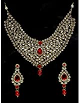 Ethnic Kundan Work Necklace Set Carved With Stone And Beads
